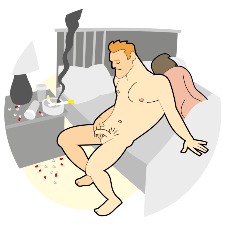 Mann mit Medikamenten und Erektionsproblemen