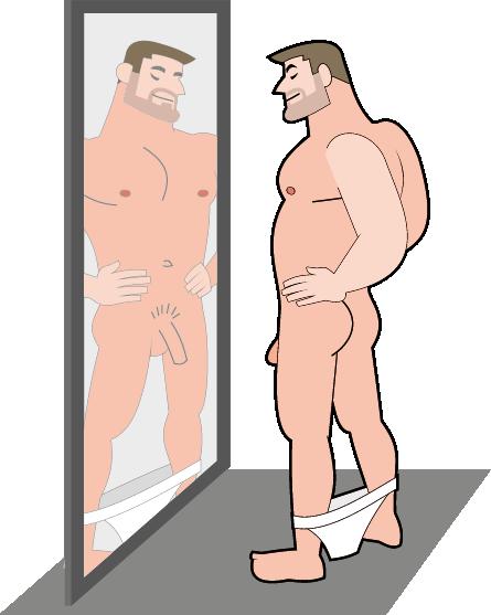 Abbildung Mann vor dem Spiegel