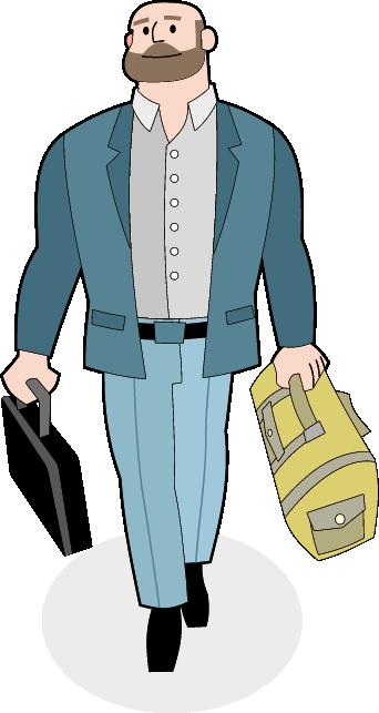 Mann mit Aktenkoffer und Sporttasche