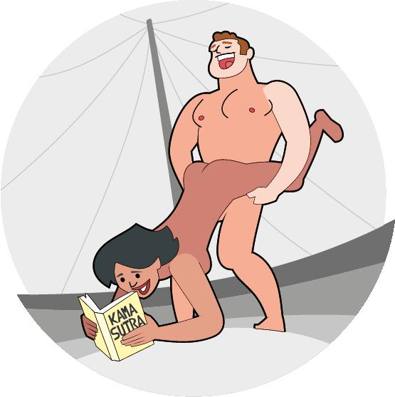 Lachendes Paar beim probieren von Sex-Positionen