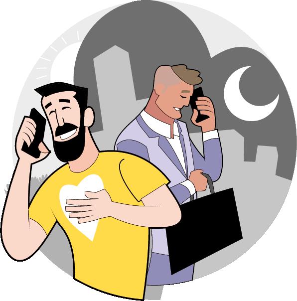 Männerpaar am telefonieren