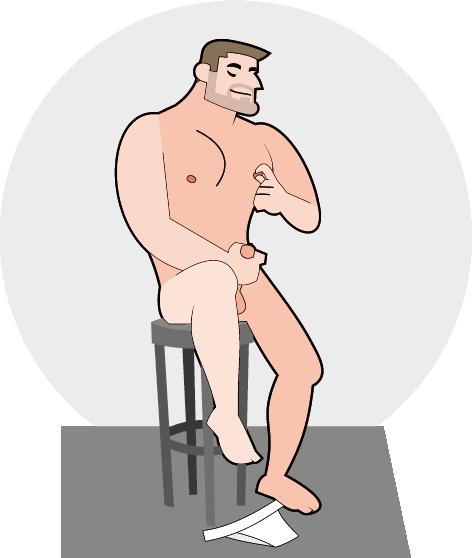 Sitzender Mann bei der Selbstbefriedigung